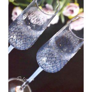 сватбени чаши, чаши за сватба в синьо, сватбено шампанско