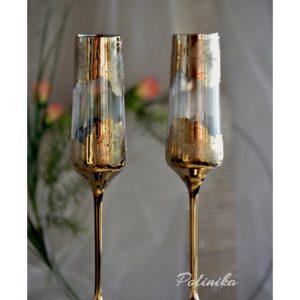 сватбени чаши, чаши за шампанско, с рози