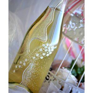 сватбено шампанско, декорирано шампанско, рисувана бутилка