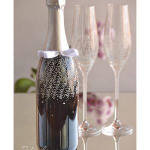 декорирано шампанско за сватба, сватбено шампанско