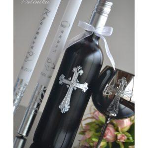 вино за църквата, декорирано вино, вино с имена и дата, свещи за църквата