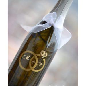 декорирано шампанско, сватбено шампанско, с инициали