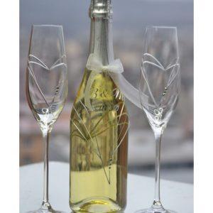 сватбено шампанско, за сватба, декорирано шампанско, сваровски