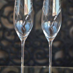 сватбени чаши, чаши за шампанско, декорирани чаши