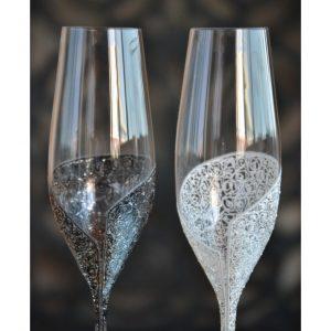 сватбени чаши, чаши за шампраско, ритуални чаши, сватбено шампанско