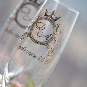 сватбени чаши с монограм, чаши за шампанско, с надпис