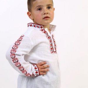 риза с шевици за момче, детска риза за народна носия