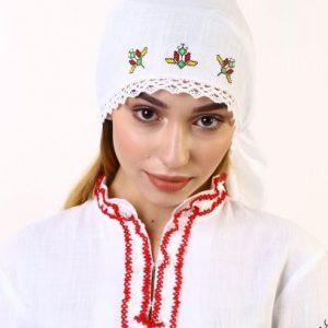 кърпа за глава с български шевици, бродирана кърпа,