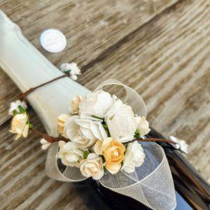 декорирана бутилка за сватба, сватбено шамапнско, сватбено вино, вино за църквата