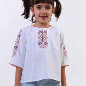 детска носия, кенарена блуза с българска бродерия